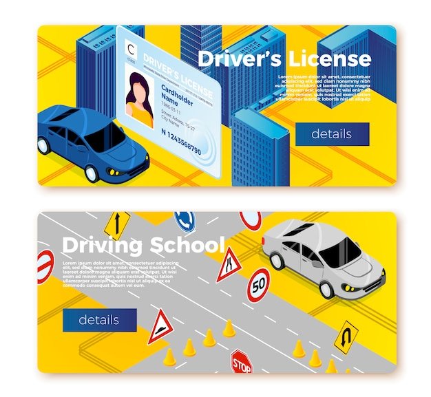 Rijschool banner sjablonen, licentie-id en auto rijden op oefenterrein Premium Vector