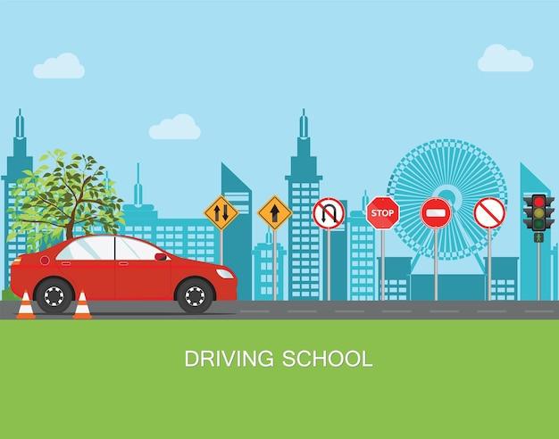 Rijschool met auto en verkeersbord Premium Vector