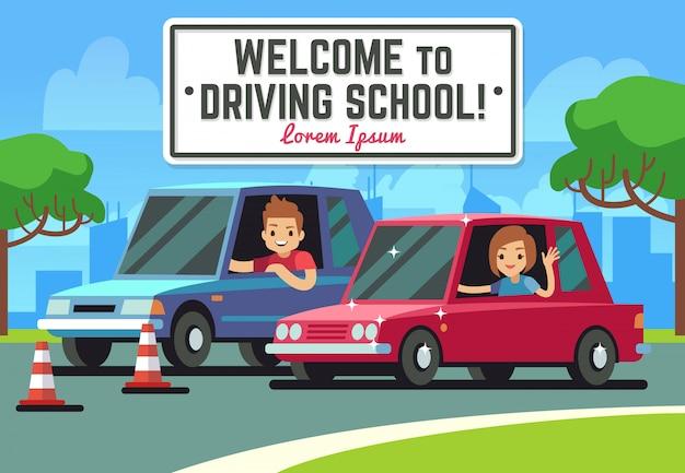 Rijschoolachtergrond met jonge gelukkige bestuurder in auto's op weg Premium Vector