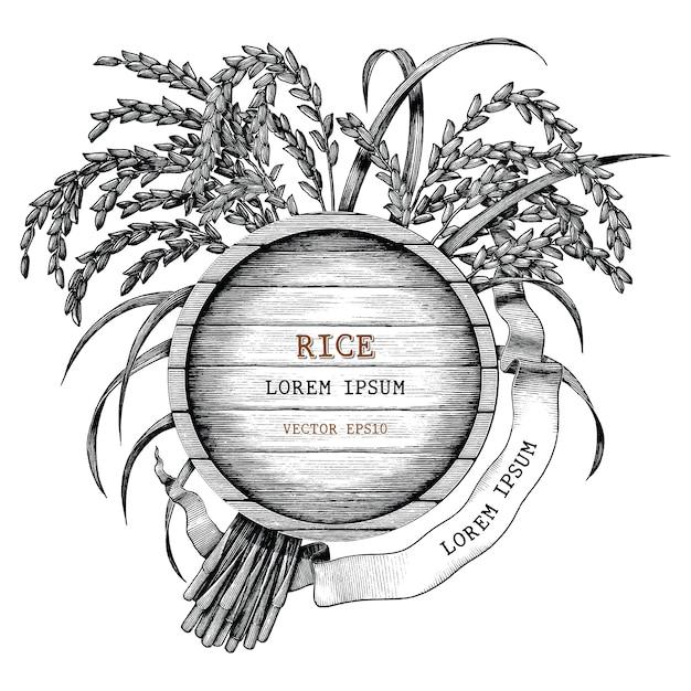 Rijst concept logo hand tekenen vintage gravure stijl geïsoleerd op een witte achtergrond Premium Vector