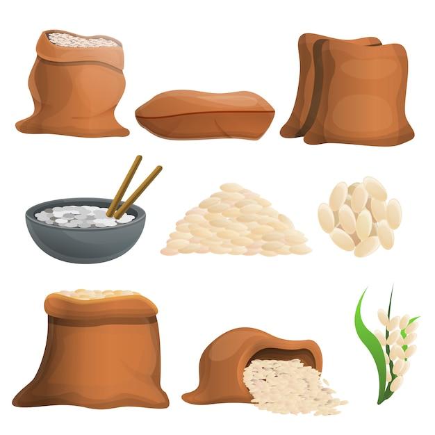Rijst set, cartoon stijl Premium Vector