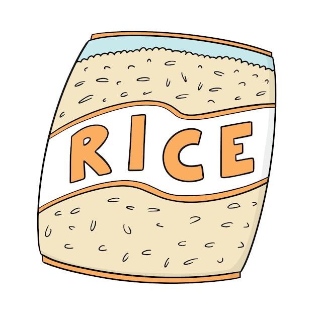 Rijst zak Premium Vector