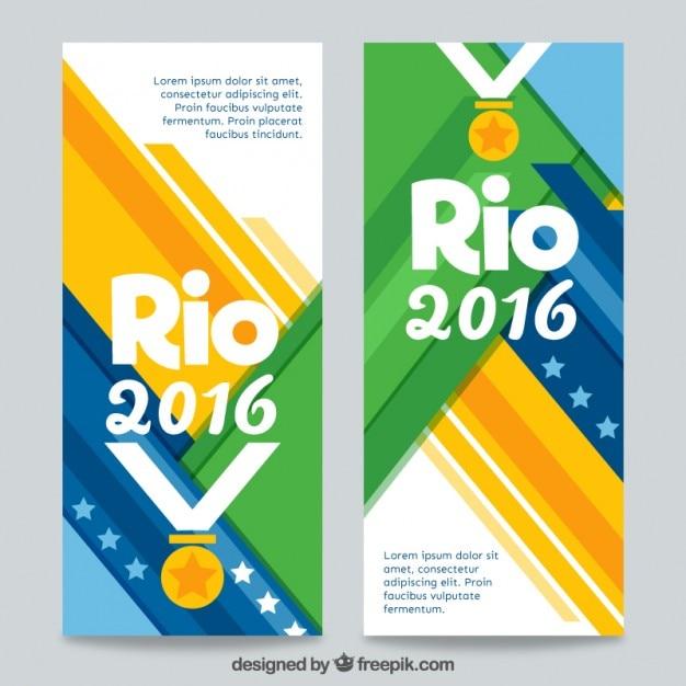 Rio 2016 banners met een medaille Gratis Vector