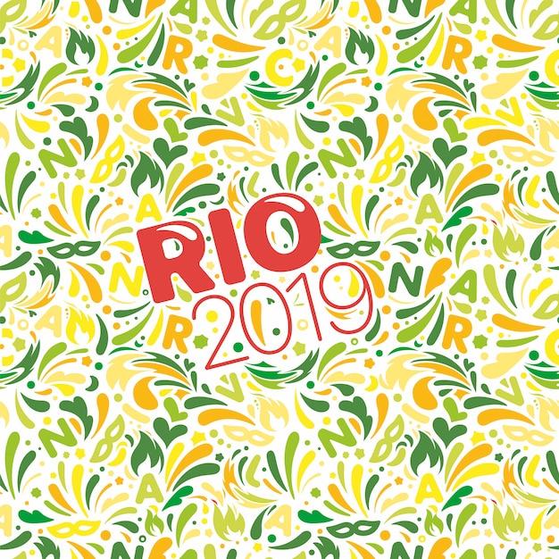 Rio 2019. kleurrijk abstract patroon. braziliaanse carnaval ontwerpsjabloon Premium Vector