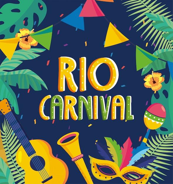 Rio carnaval-van letters voorziende partij met takkenbladeren en bloemen Premium Vector