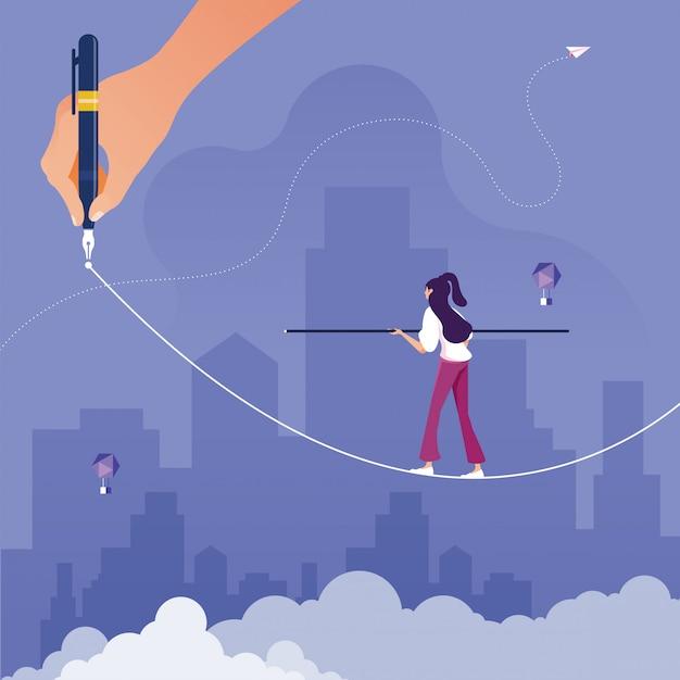Risico-uitdaging in bedrijfsconcept Premium Vector