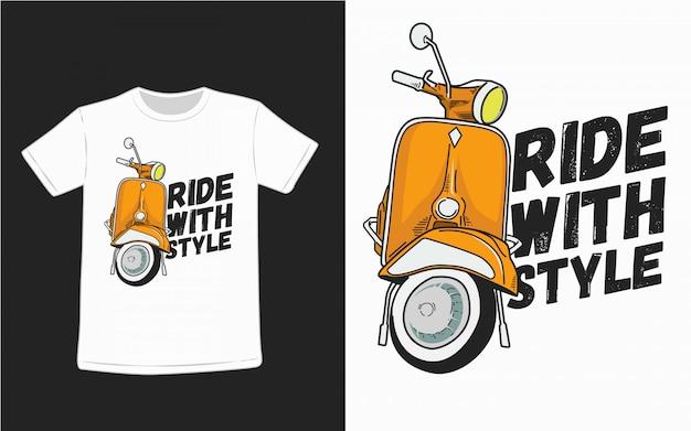 Rit met stijltypografie voor t-shirtontwerp Premium Vector