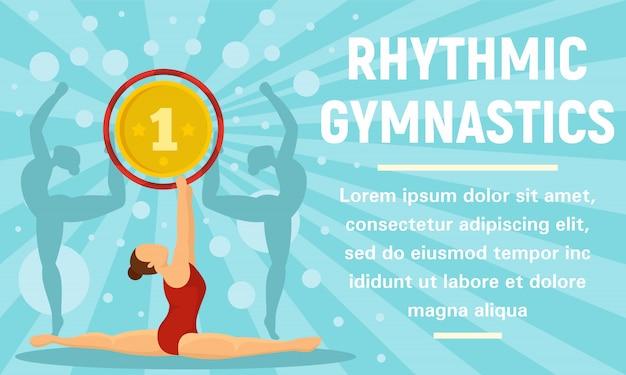 Ritmische gymnastiek gouden medaille concept banner Premium Vector