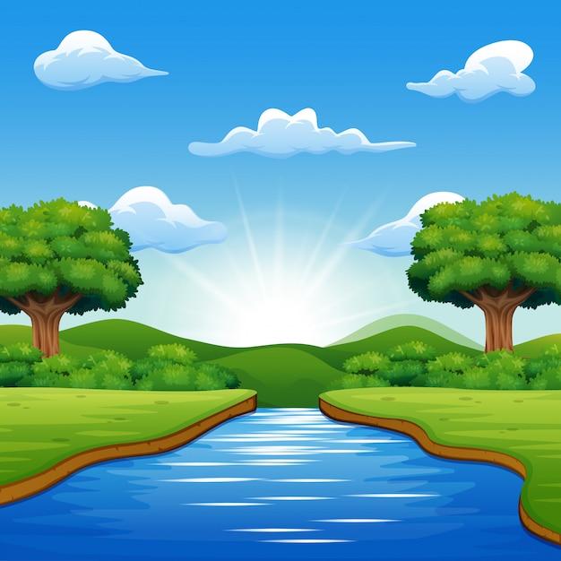 Riviercartoons in het midden van prachtige natuurlijke landschappen Premium Vector