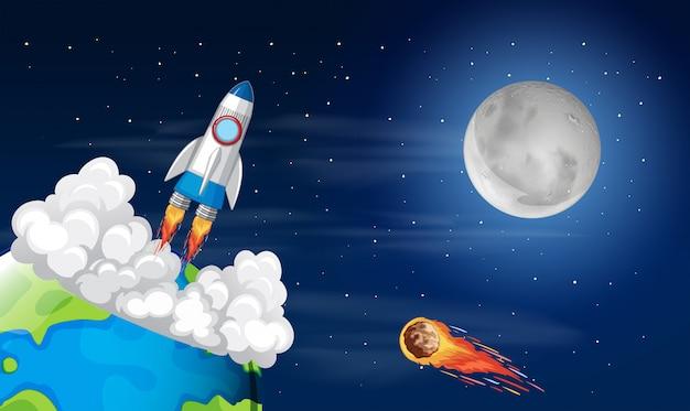Roacket-lancering vanaf de aarde Gratis Vector