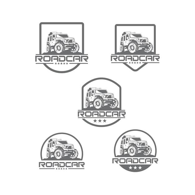 Road auto logo set Premium Vector