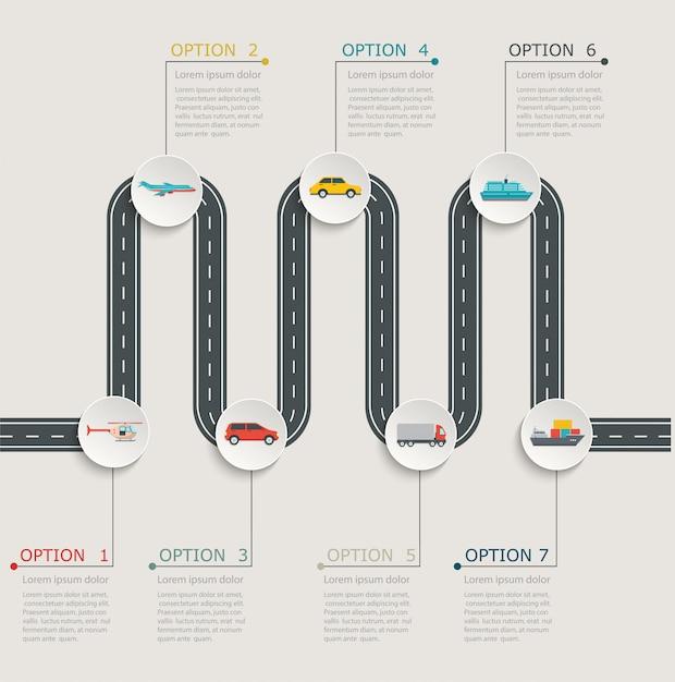 Road infographic stapsgewijze structuur met transportpictogrammen. Premium Vector