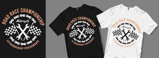 Road race kampioenschap motorfiets t-shirt ontwerp Premium Vector