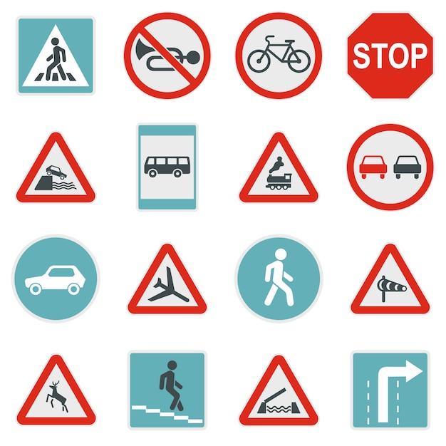 Road sign set pictogrammen Premium Vector