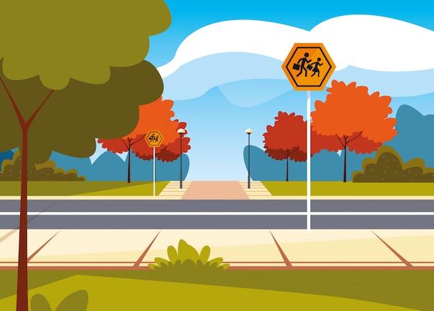 Road straatbeeld met bewegwijzering voetganger Premium Vector