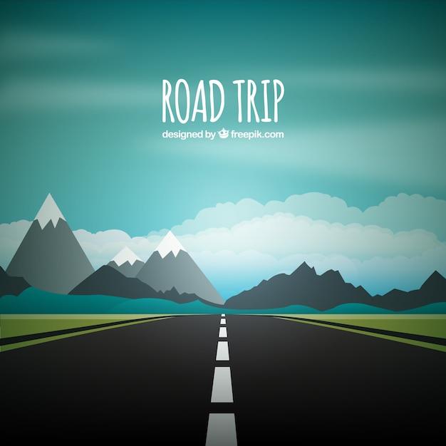 Road trip achtergrond Gratis Vector
