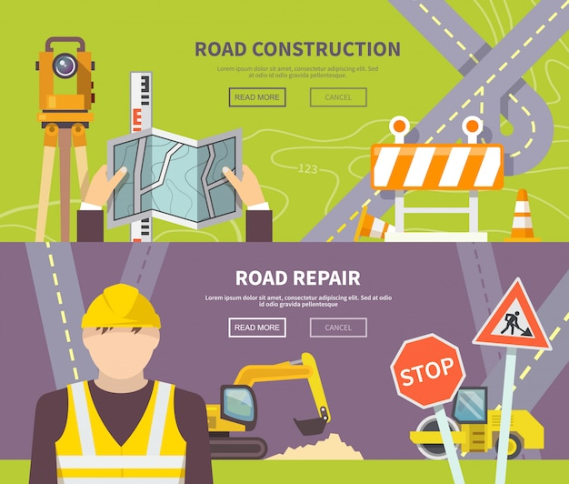 Road worker banner Gratis Vector