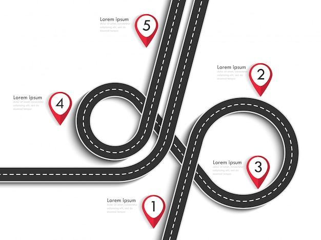 Roadtrip en reisroute op wit Premium Vector