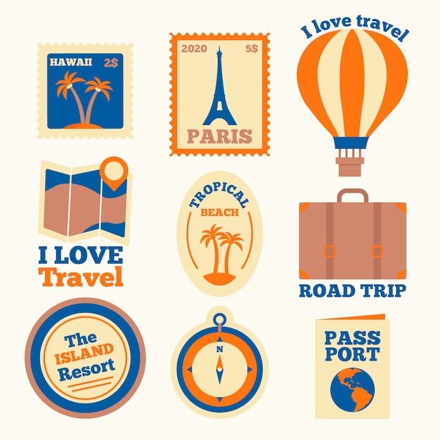 Roadtrip rond de wereldcollectie stickers Gratis Vector