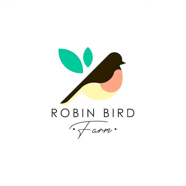 Robin vogel logo sjabloon. dierlijke logo vector. huisdier vogel logo sjabloon Premium Vector