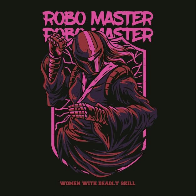 Robo master illustratie Premium Vector