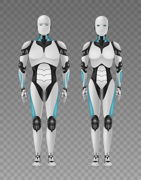 Robot android realistische 3d-compositie met transparante en volledige lengte afbeeldingen van menselijke droids Gratis Vector