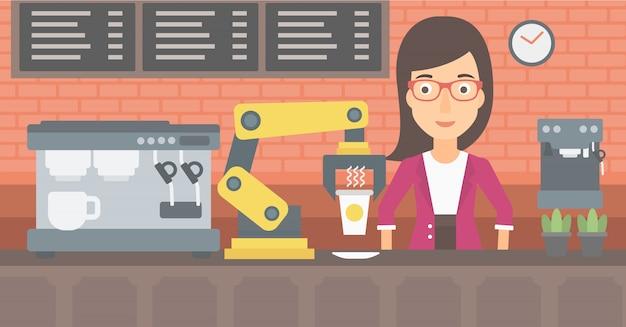 Robot die koffie voor een cliënt maakt bij koffiewinkel. Premium Vector