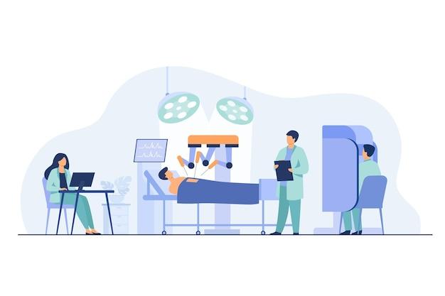 Robot die op patiënt werkt. chirurgen controleren robotarmen werken in de operatiekamer Gratis Vector