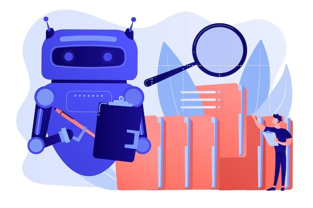 Robot doet herhaalbare taken met veel mappen en vergrootglas. procesautomatisering met robots, winst van servicerobots, geautomatiseerd verwerkingsconcept Gratis Vector