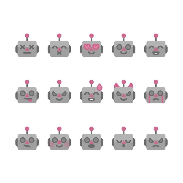 Robot emoji pictogrammen Premium Vector