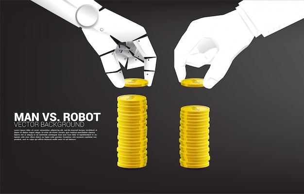 Robot en menselijke hand stapelen de munt. concept van bedrijfsverstoring en ai industrial Premium Vector