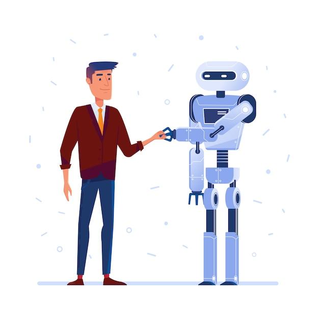 Robot en menselijke handen schudden. Premium Vector
