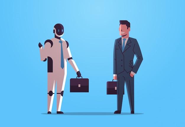 Robot en menselijke ondernemers houden aktetassen robotachtig karakter vs man ondernemers staan samen kunstmatige kunstmatige intelligentie technologie concept vlakke volledige lengte horizontaal Premium Vector