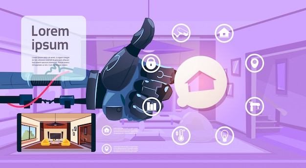 Robot hand holding thumb up over smart house monitoring interface technologie van home management concept Premium Vector