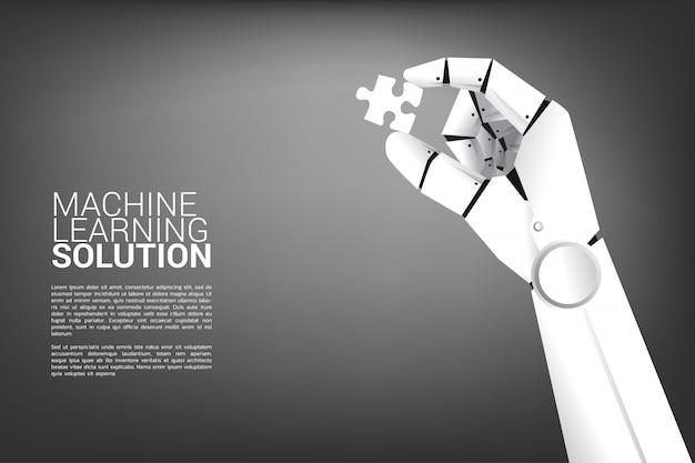 Robot hand legpuzzel. Premium Vector