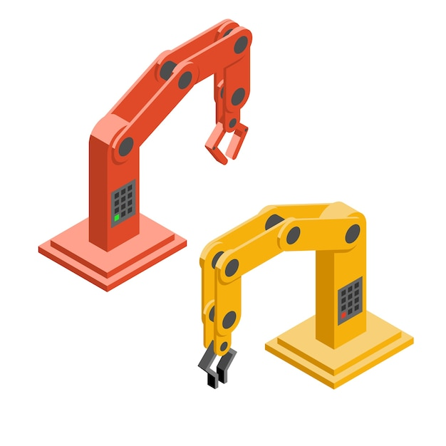 Robot handen. industriële robotarmen. technologie en machine, hand en monteur. vector illustratie Gratis Vector