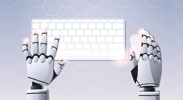 Robot handen met muis met computertoetsenbord en muis Premium Vector