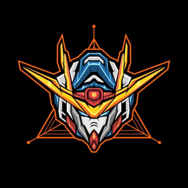 Robot hoofd esports logo. mascotte met hoofd van een robot. Premium Vector