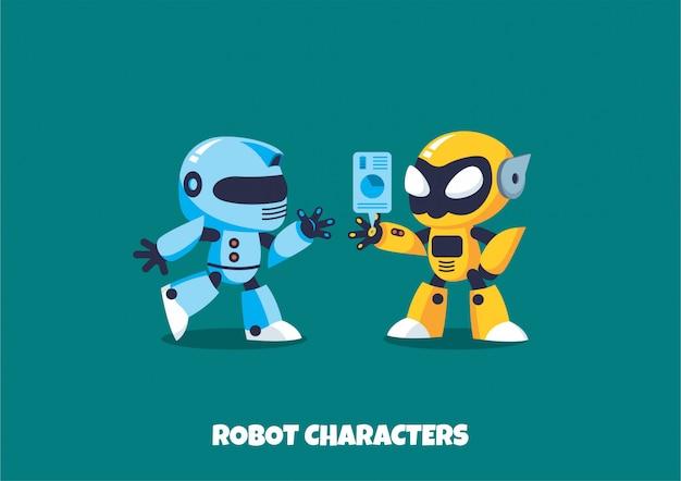 Robot karakters Premium Vector