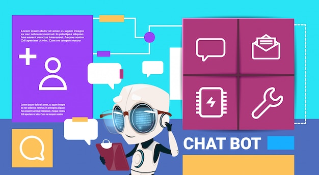 Robot met tablet messenger chat bot applicatie presentatie interface kunstmatige intelligentie concept platte kopie ruimte Premium Vector