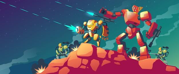 Robot oorlog op buitenaardse planeet Gratis Vector