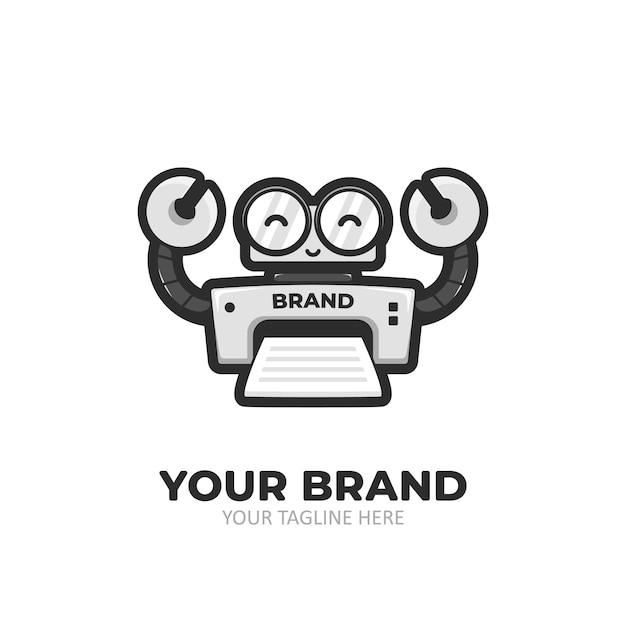 Robot printer cartoon mascotte karakter logo Premium Vector