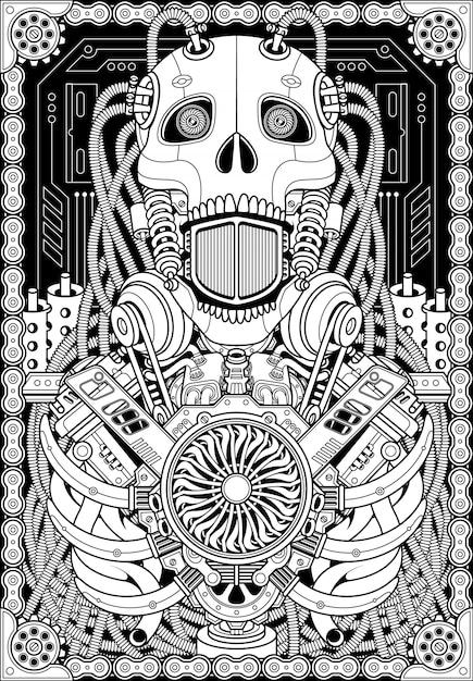 Robot schedel illustratie Premium Vector