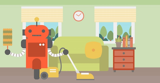 Robot schoonmakend tapijt met stofzuiger. Premium Vector