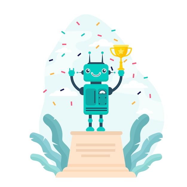 Robot winnende gouden beker Gratis Vector