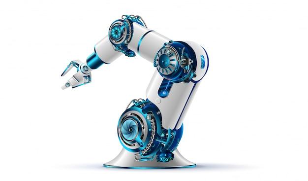 Robotachtig wapen 3d op witte achtergrond Premium Vector