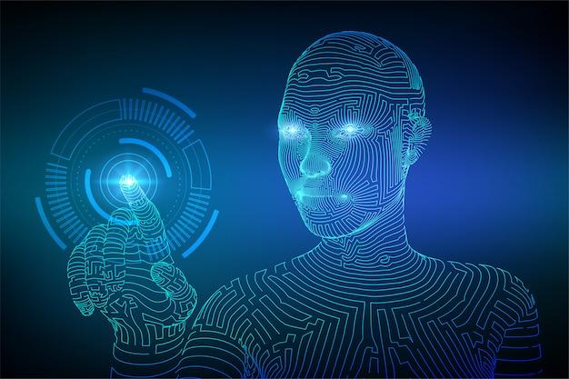 Robotachtige hand wat betreft digitale interfaceachtergrond Premium Vector