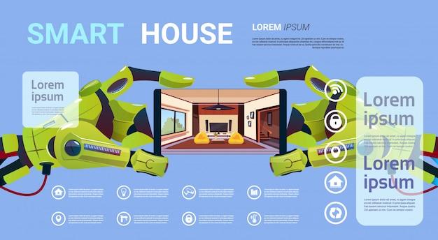 Robotachtige handen die smartphone met smart house monitoring interface technology of home management concept houden Premium Vector