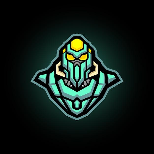 Robotachtige ninja e sport logo gaming mascotte Premium Vector