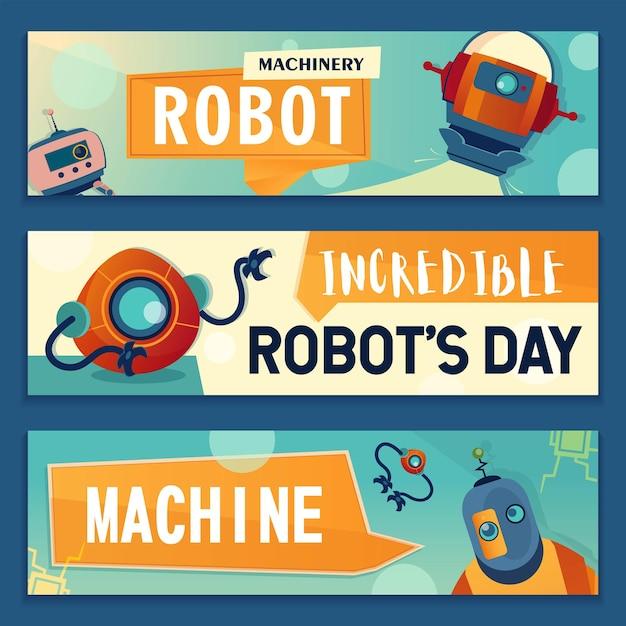 Robotachtige tekens banners instellen Gratis Vector